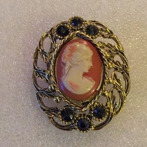 Vintage lucite cameo brooch